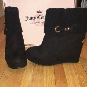 NIB Juicy Couture Black Wedge Boots 9